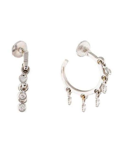 Dior - Metallic 18k Coquin Diamond Hoop Earrings White - Lyst