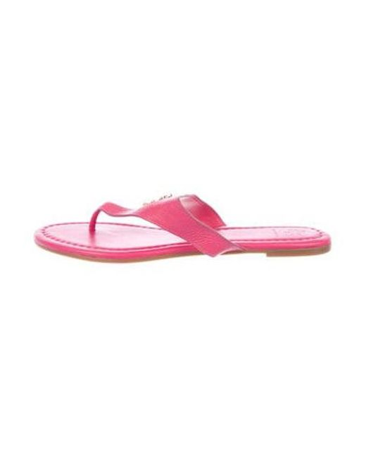 31c7944a475 Tory Burch - Metallic Leather Thong Sandals Pink - Lyst ...