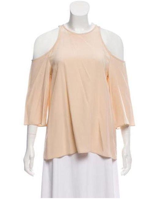 2aefa458300 Tibi - Natural Silk Cut-out Shoulder Top Neutrals - Lyst ...