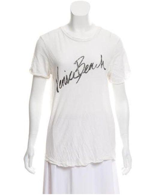 ec596a3d63c27 Current Elliott - White Linen-blend Graphic T-shirt - Lyst ...