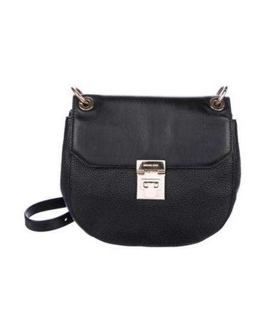 87cf3c5a9abc MICHAEL Michael Kors - Metallic Michael Kors Grained Leather Crossbody Bag  Black - Lyst ...