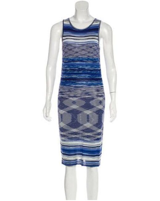 1fc4df2f9b97 Missoni - Blue Patterned Midi Dress Navy - Lyst ...