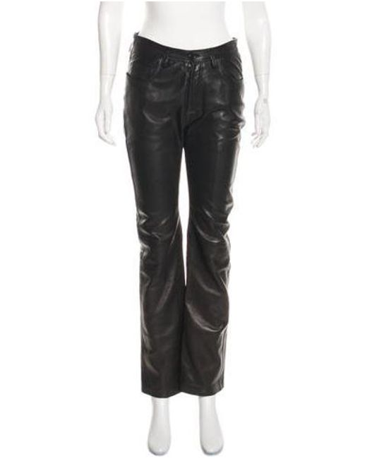 9a9be0f7a6fe5a Helmut Lang - Black Leather Mid-rise Straight-leg Pants - Lyst ...