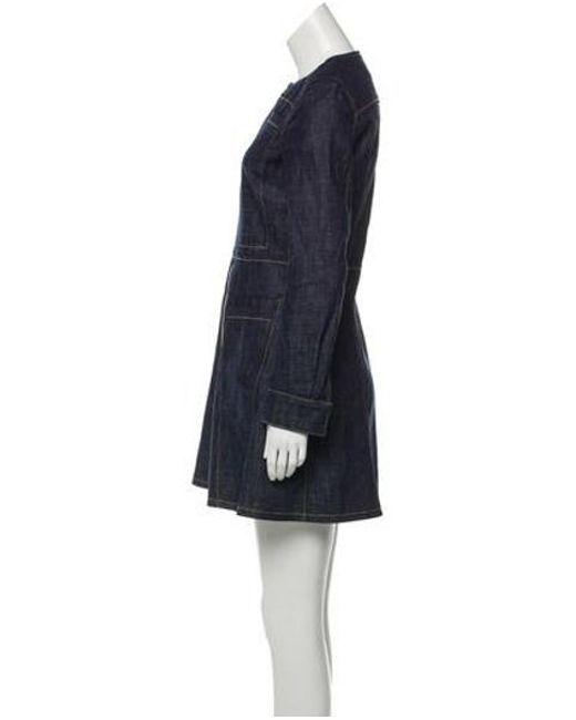 Derek Lam Women S Metallic Denim Mini Dress Blue