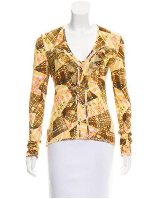 John Galliano - Yellow Patterned V-neck Sweater - Lyst ... a7bd96bc0