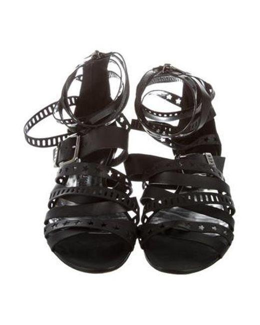 a9aa94504d94 ... Balmain - Black Star Strappy Sandals - Lyst ...