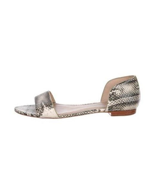 1438841dc33ec0 Tory Burch - Metallic Embossed Leather Flat Sandals Black - Lyst ...