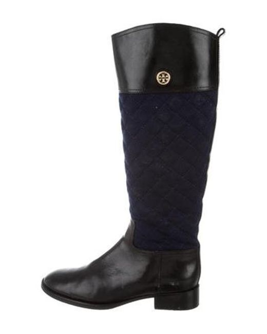 3b7920df52d Women's Metallic Leather And Suede Knee Boots Black