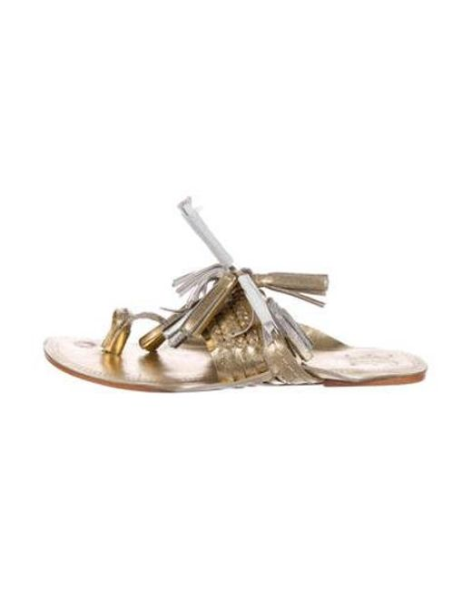 85a2d1627 Figue - Metallic Tassel Thong Sandals Gold - Lyst ...