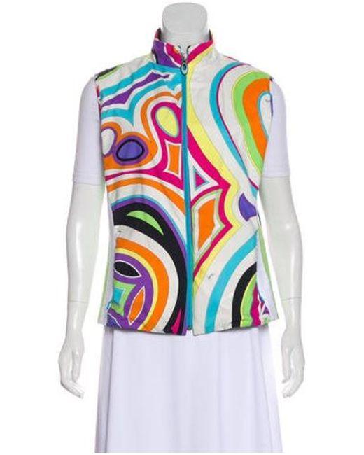 a463cc0cea0f Emilio Pucci - White Reversible Printed Vest - Lyst ...