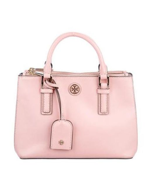 5d44743bb26 Tory Burch - Metallic Robinson Micro Double-zip Tote Pink - Lyst ...