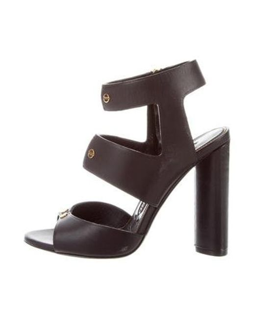 459e38a91024 Tom Ford - Metallic Leather Ankle Strap Sandals Black - Lyst ...