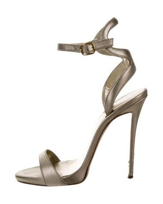 20b78e82e02 Giuseppe Zanotti - Metallic Leather Ankle Strap Sandals Gold - Lyst ...