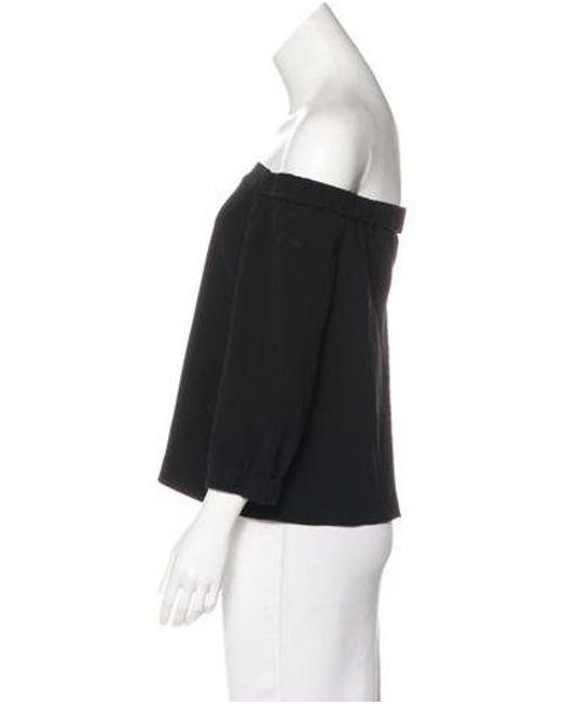 dc79d88a21218 ... Tibi - Black Off-the-shoulder Three Quarter Sleeve Top - Lyst ...