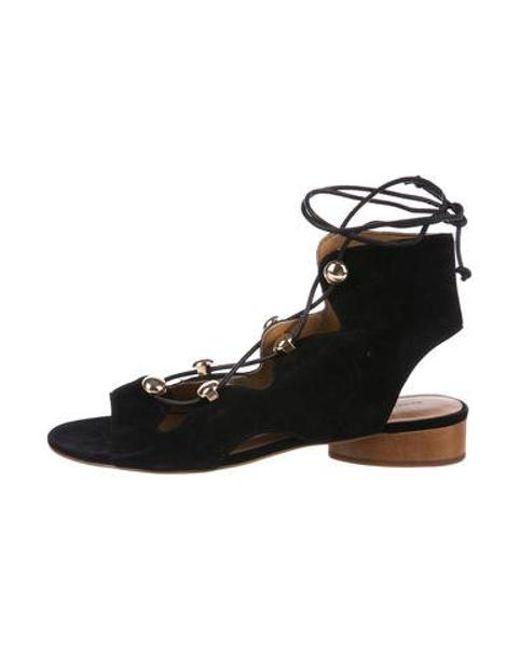 c342c67e36653c Rebecca Minkoff - Metallic Suede Lace-up Sandals Black - Lyst ...