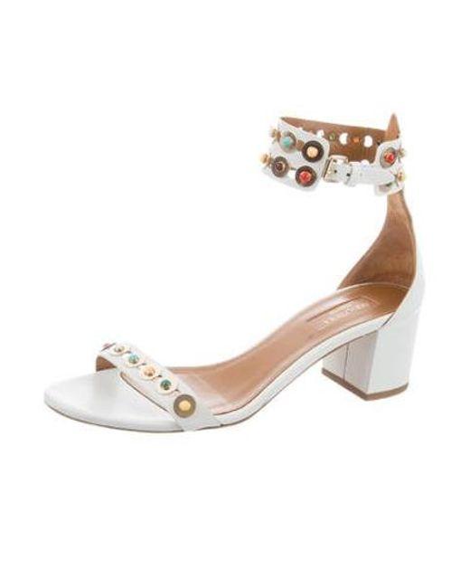 ecf00d29e ... Aquazzura - White Leather Embellished Sandals - Lyst ...