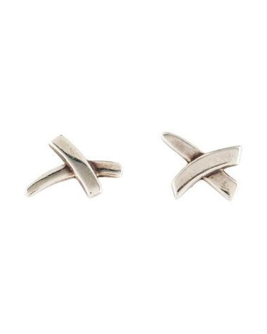 Tiffany Co Metallic X Stud Earrings Silver
