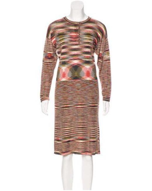 f174db5bdd Missoni - Natural Patterned Midi Dress Tan - Lyst ...