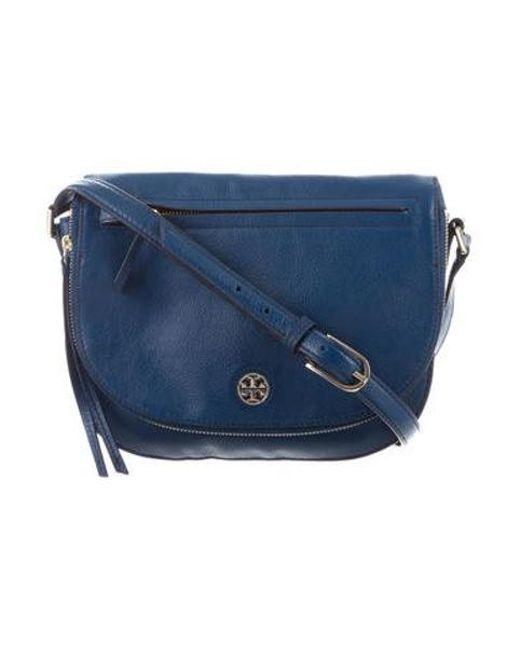 1dc1ba9c4a Tory Burch - Metallic Brody Leather Saddle Bag Blue - Lyst ...