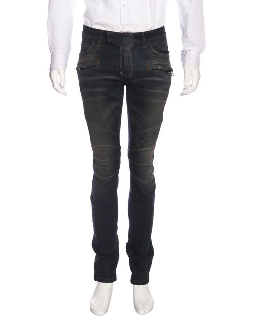 Balmain | Blue Distressed Biker Jeans W/ Tags for Men | Lyst