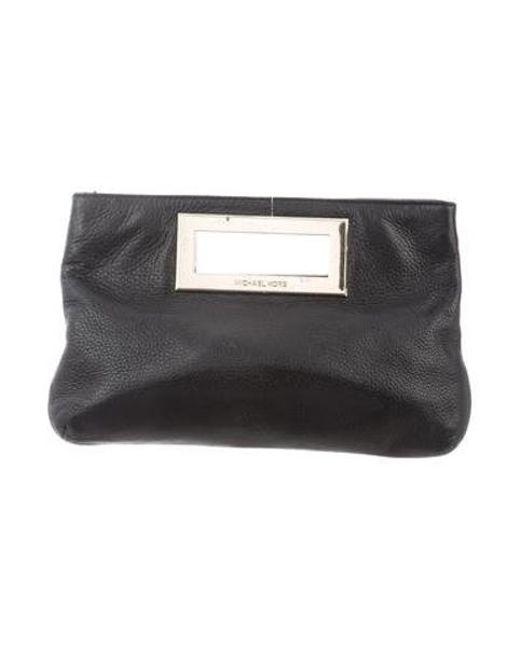 334a1df35b30 MICHAEL Michael Kors - Metallic Michael Kors Textured Leather Clutch Black  - Lyst ...