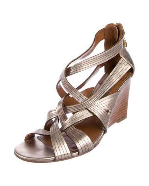 d428c426ebfb ... Diane von Furstenberg - Metallic Leather Wedges Gold - Lyst ...