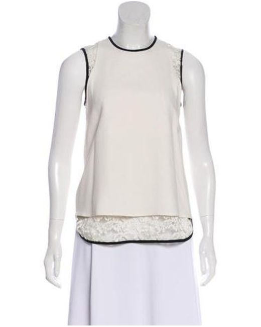 Elie Saab - White Lace-accent Sleeveless Top - Lyst