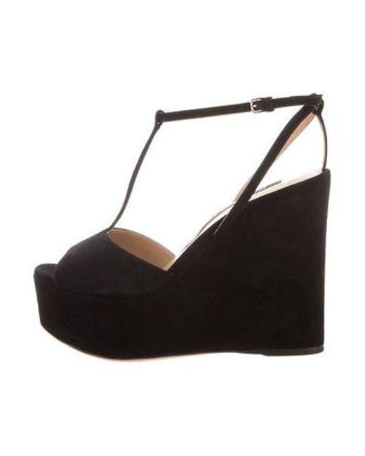 0225ab234e8 Sergio Rossi - Black T-strap Wedge Sandals - Lyst ...