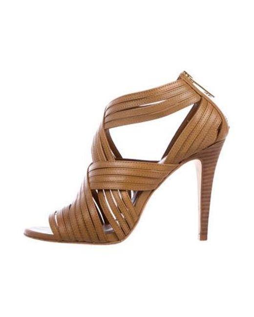 c638da11e08 Tory Burch - Metallic Leather Multistrap Sandals Tan - Lyst ...