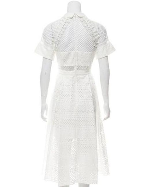 15859cceefbb0 ... Self-Portrait - White Eyelet Accented Midi Dress W/ Tags - Lyst
