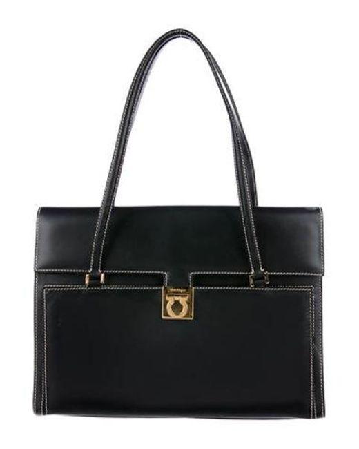 420dc8650be Ferragamo - Metallic Gancini Shoulder Bag Black - Lyst ...