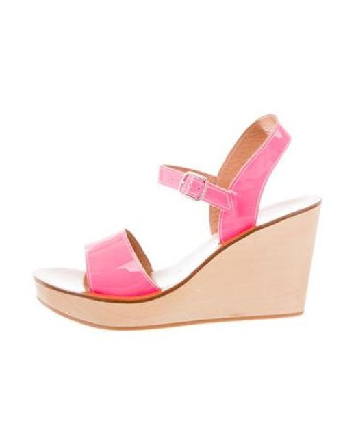 06e6b91c1d41 K. Jacques - Pink Patent Leather Wedge Sandals - Lyst ...