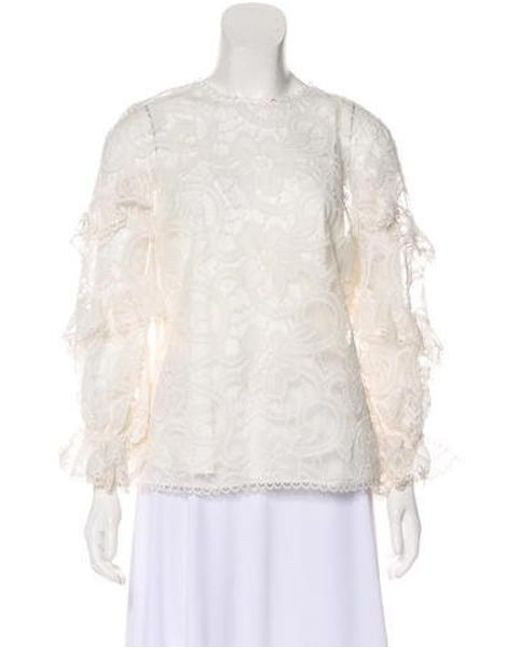 7a2884d823b2b Alexis - White Long Sleeve Lace Blouse W  Tags - Lyst ...