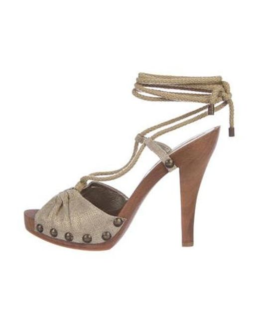 07820c51b1fe Stella McCartney - Metallic Woven Lace-up Sandals Gold - Lyst ...