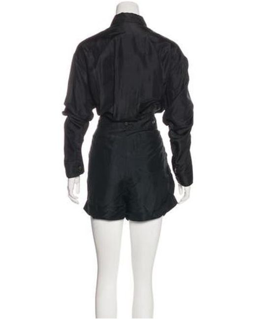 3a0bb93371a6 ... Faith Connexion - Black Silk Long Sleeve Military Romper W  Tags - Lyst