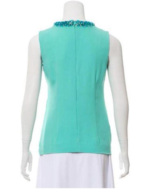 9c53bd230c59 ... Miu Miu - Green Miu Embellished Sleeveless Top - Lyst