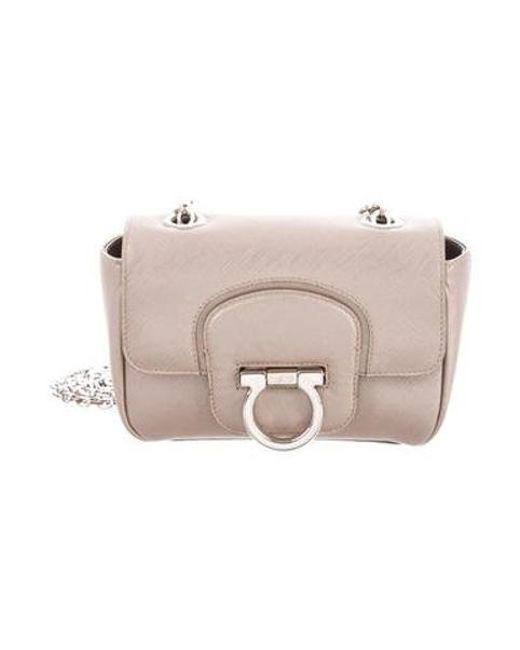 5f94082835be Ferragamo - Metallic Leather Gancio Bag Brown - Lyst ...