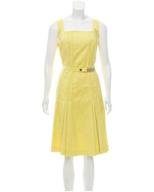 4439ef6822 Akris Punto - Yellow Denim Pleated Dress - Lyst ...