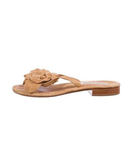 6b2009f5807d Manolo Blahnik - Brown Suede Slide Sandals - Lyst ...