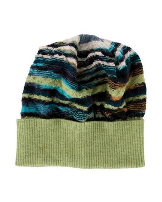 6560f184483 Missoni - Green Knit Abstract Pattern Beanie Lime - Lyst ...