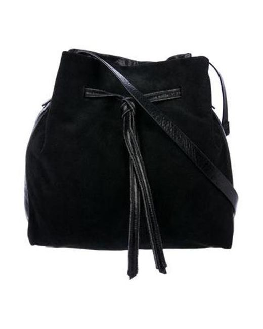 4d325fe063ed Halston Heritage - Black Drawstring Leather Bucket Bag - Lyst ...