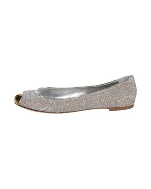 4289d50e165 Giuseppe Zanotti - Metallic Cap-toe Flats Silver - Lyst ...