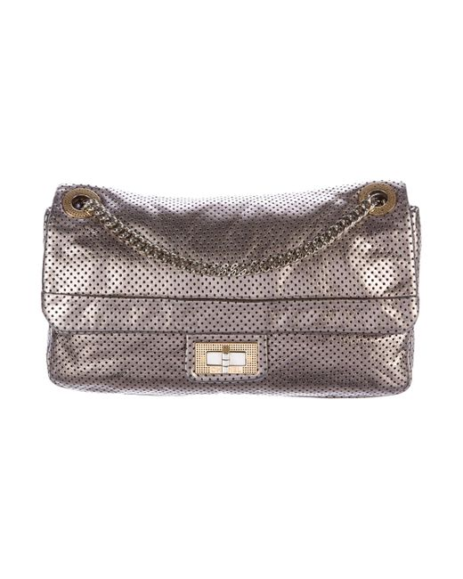 Chanel | Gray Perforated Drill Flap Bag Metallic | Lyst