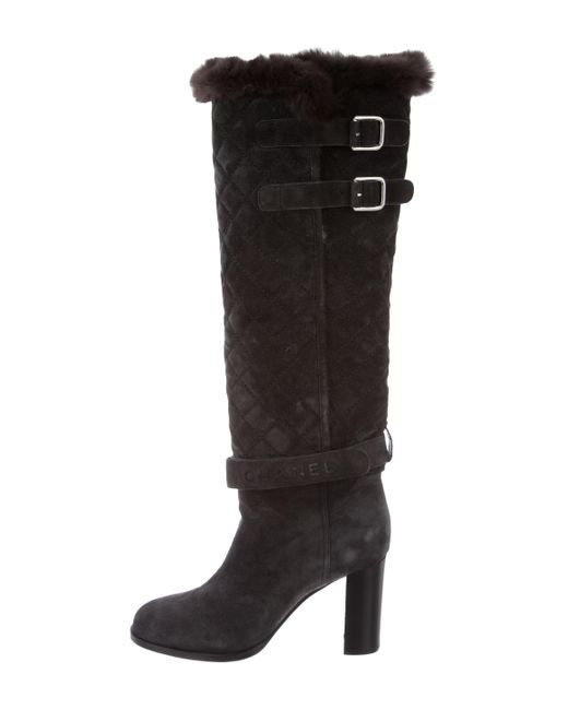 Chanel | Gray Quilted Fur-trimmed Boots Grey | Lyst
