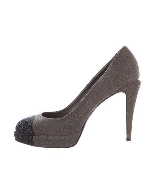 Chanel | Gray Glitter Cap-toe Pumps Grey | Lyst