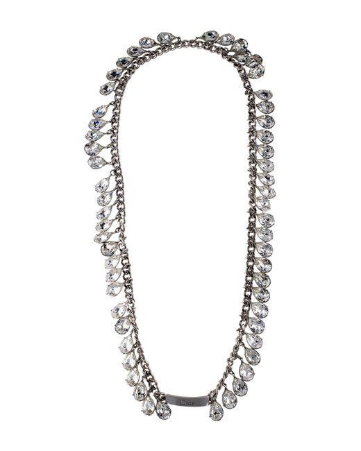 Dior | Metallic Crystal Necklace Silver | Lyst