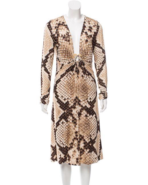 Roberto Cavalli | Metallic Snake Print Midi Dress Tan | Lyst
