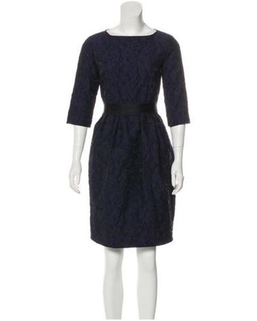 Lyst Ch By Carolina Herrera Embroidered Three Quarter Sleeve Dress