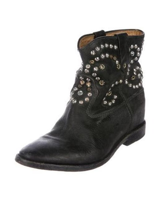 9dfd4a18b788 ... Isabel Marant - Metallic Studded Wedge Booties Black - Lyst ...