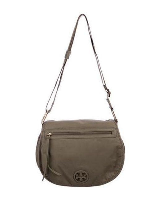 337438ad7f6 Tory Burch - Metallic Leather-trimmed Nylon Messenger Bag Gold - Lyst ...